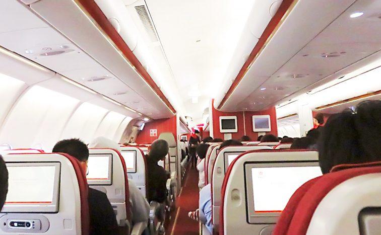 香港航空の飛行機に搭乗