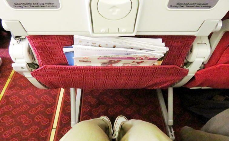 香港航空座席の足元スペース